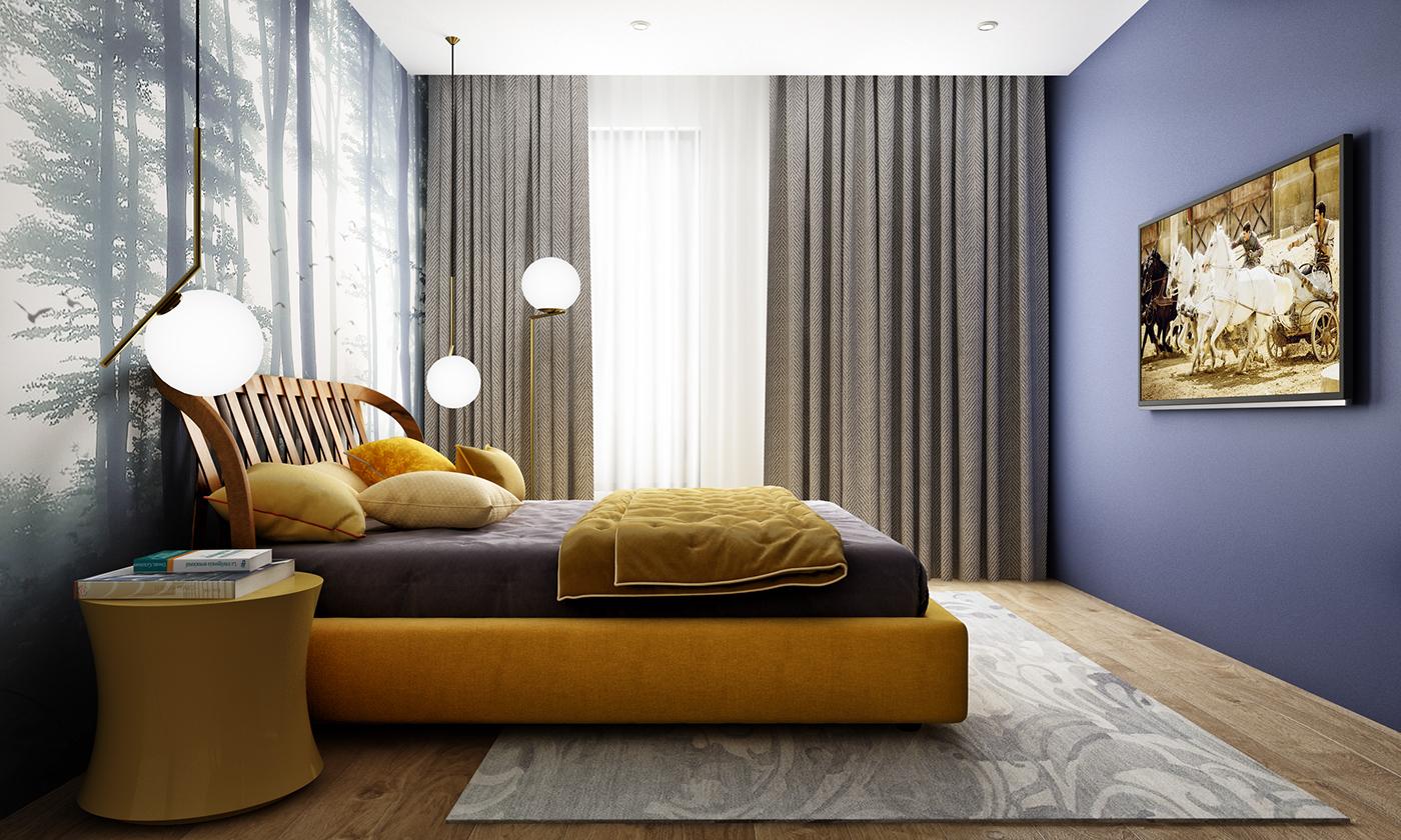3D Bedroom Interior Rendering View Living
