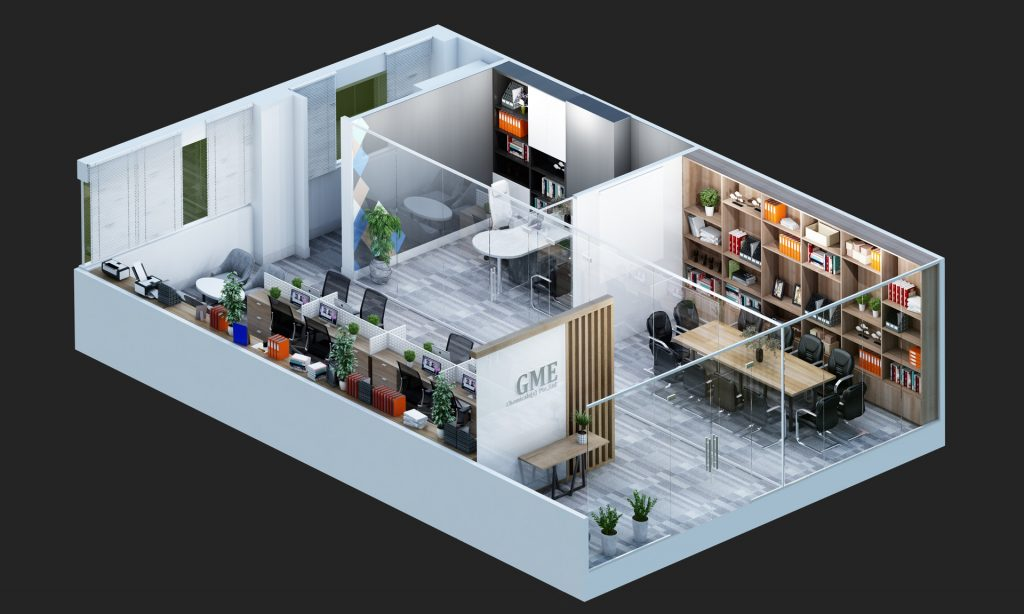 Office 3D Floor Plan Rendering