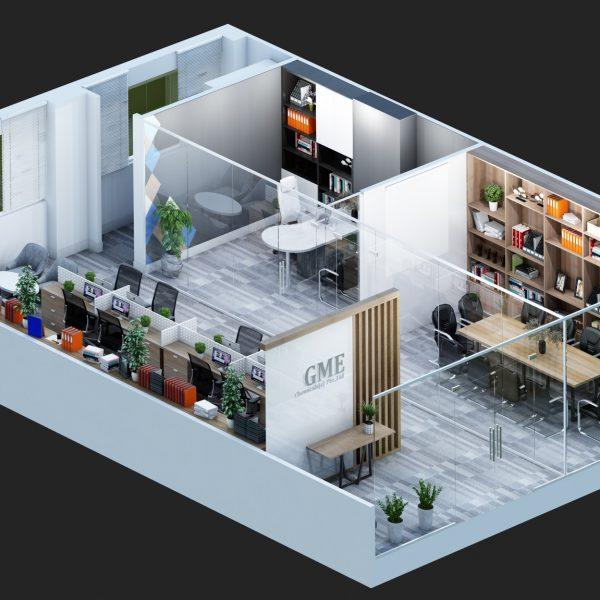 Office 3D Floor Plan Rendering